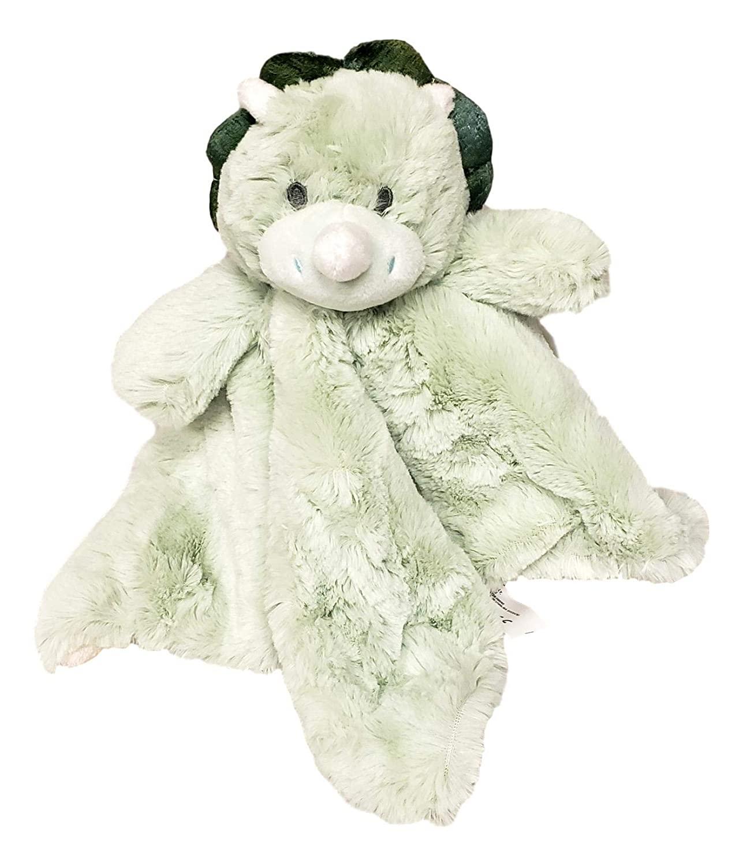 SONA G DESIGNS Custom Personalized Dinosaur Lovey Lovie Security Blanket with Rattle (Green Dino)