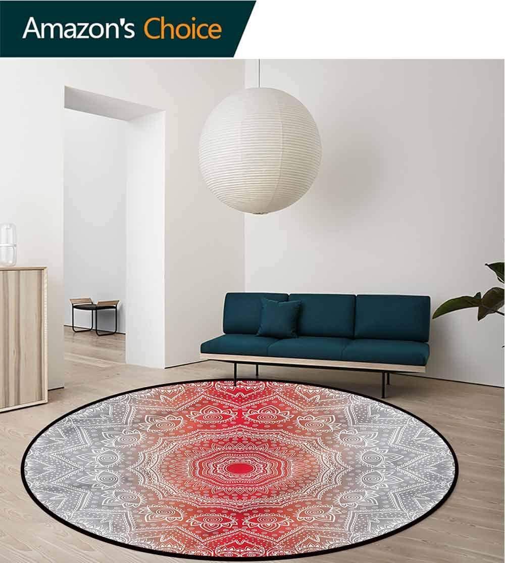 RUGSMAT Grey and Red Modern Machine Round Bath Mat,Boho Zen Mandala Design Non-Slip Fabric Round Rugs for Living Room Round-31
