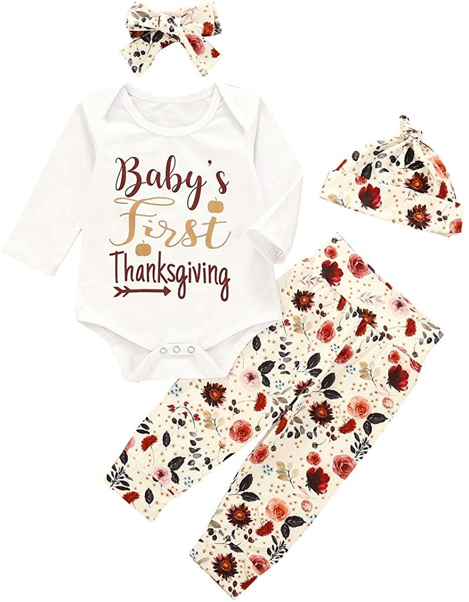 Thorn Tree Baby Girls Long T Shirt Pants Headband Hat 4PCS Newborn Infant Outfits Clothes