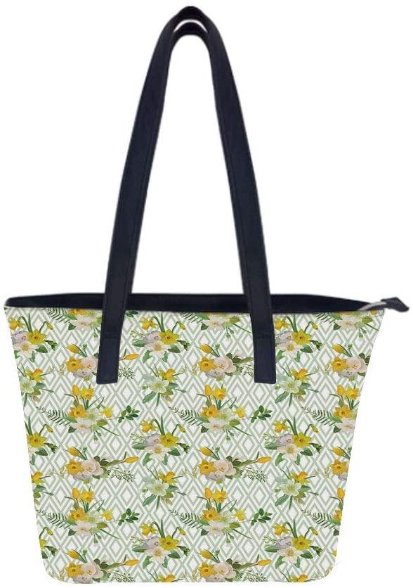 Watercolor Diamond Floral Women Leather Laptop Tote Office Shoulder Handbag Computer Briefcase
