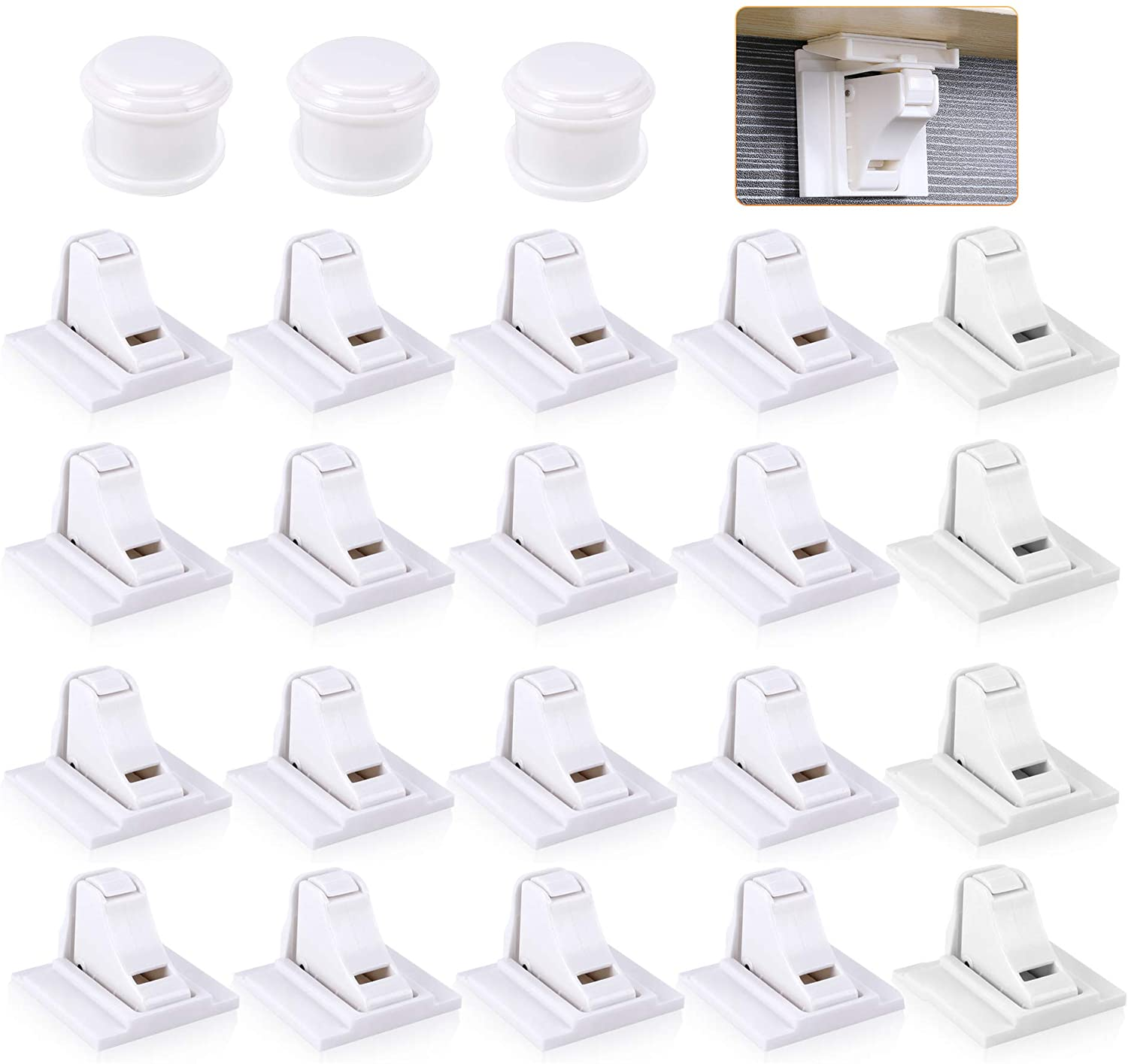 Magnetic Cabinet Locks Child Safety, Kitchen Baby Safety Proofing Cabinet & Drawer Locks, Safety Cupboard Locks for Protecting Your Kids & Toddlers (20 Locks & 3 Keys)