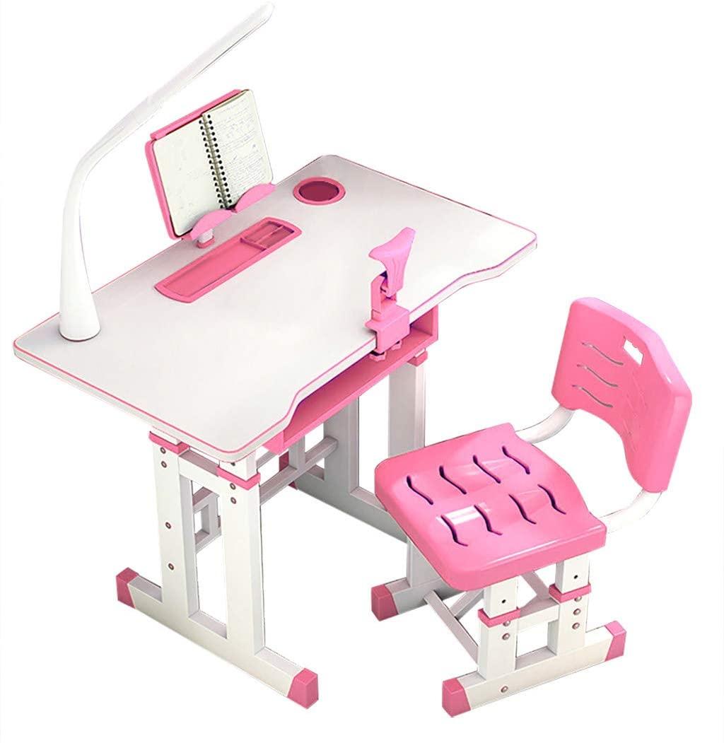 Kids Desk and Chair Set with LED Light,Adjustable Height Study Desk Student Study Table Writing Desk Tilt Desktop Storage Drawer Bookstand for Boys & Girls (Pink, 80cm/31.4in)