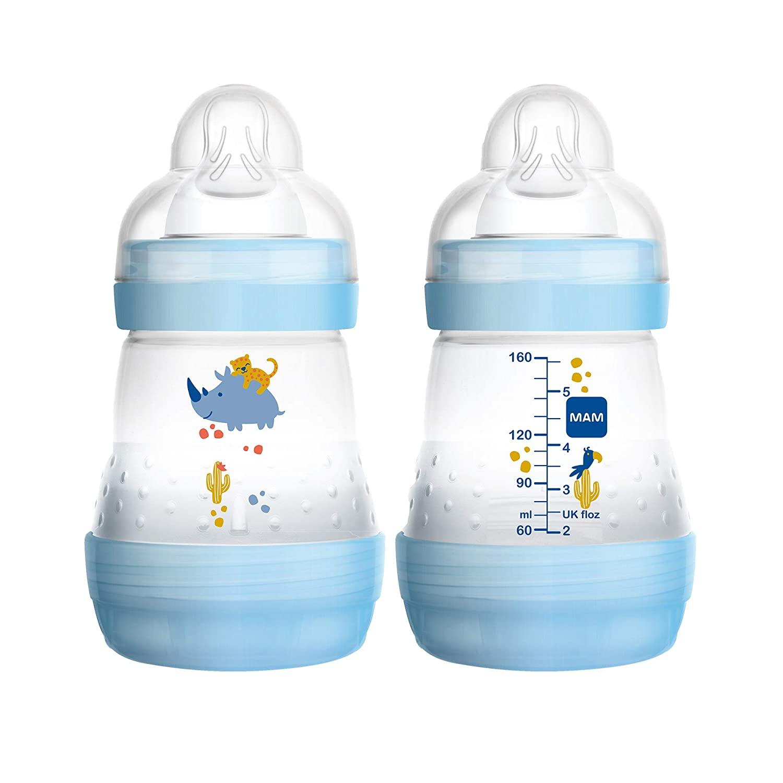 MAM Easy Start Anti-Colic Bottle, 5 oz (2-Count), Newborn Essentials, Slow Flow Bottles with Silicone Nipple, Unisex Baby Bottles