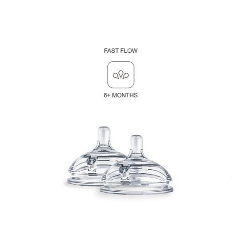 Comotomo Replacement Nipples in Fast Flow for Ages 6 Months (2-Pack)