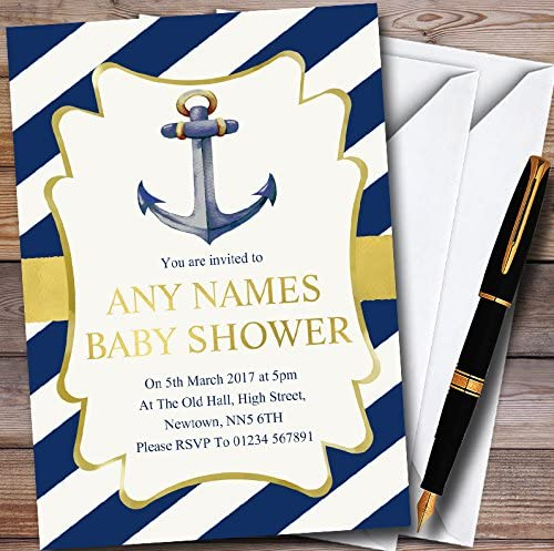 Gold & Blue Nautical Anchor Personalized Baby Shower Invitations