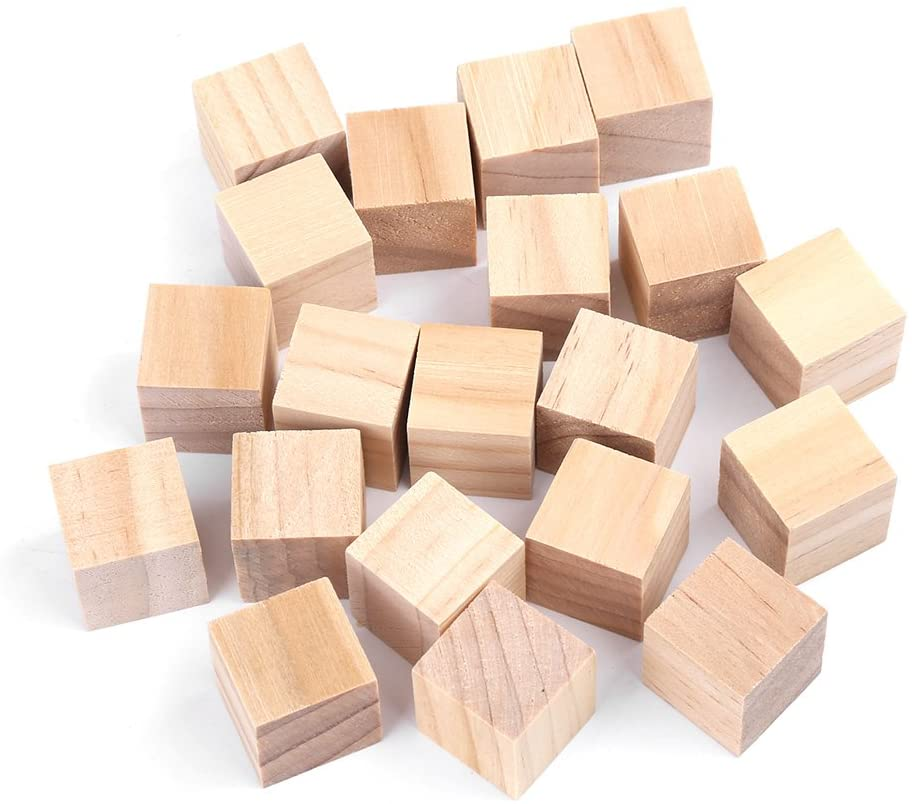 Hztyyier Wood Cubes for Craft Wood Square Blocks Natural Handmade Woodcrafts for DIY Crafts Kids Toy Home Decoration(20mm)