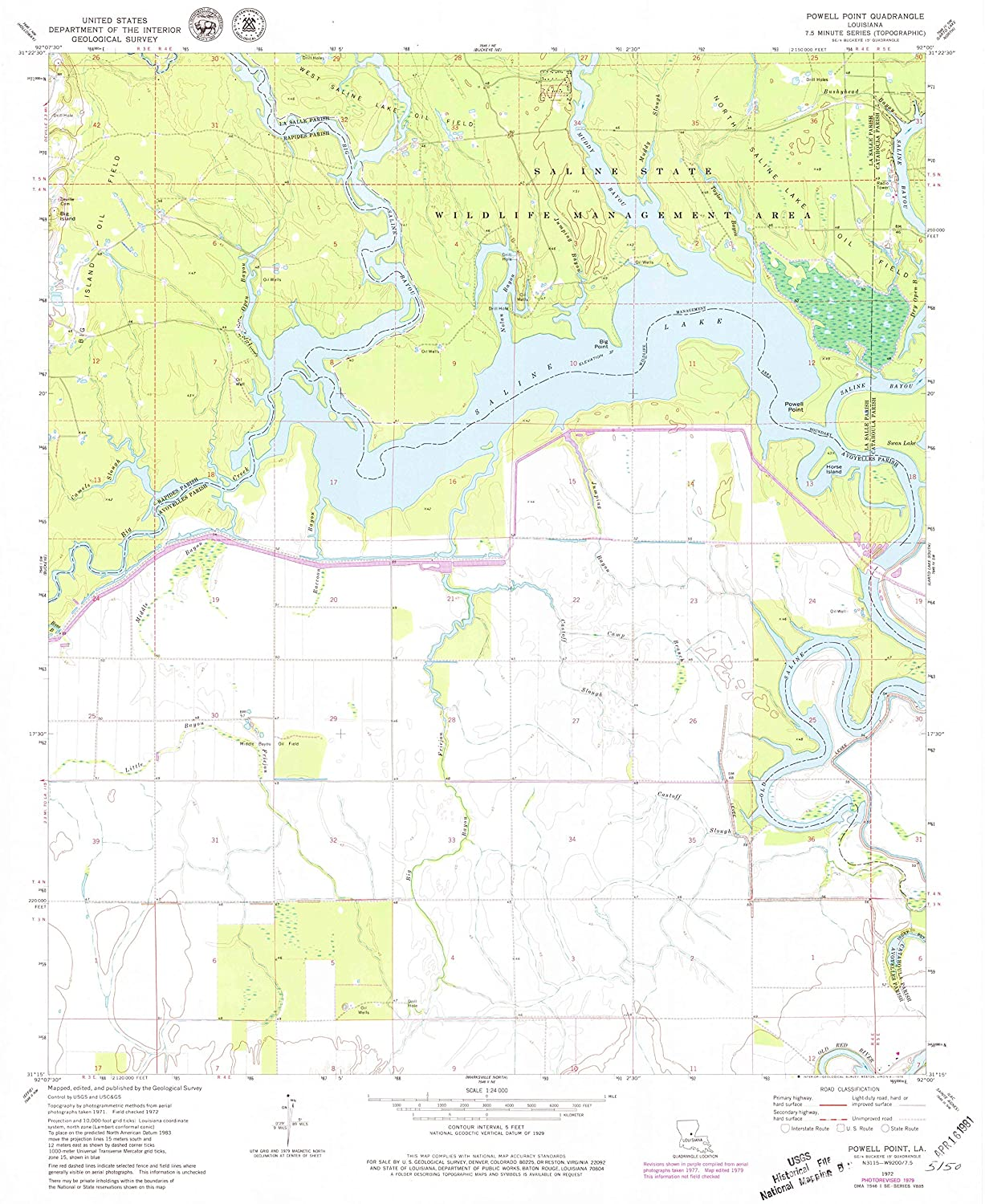 Map Print - Powell Point, Louisiana (1972), 1:24000 Scale - 24