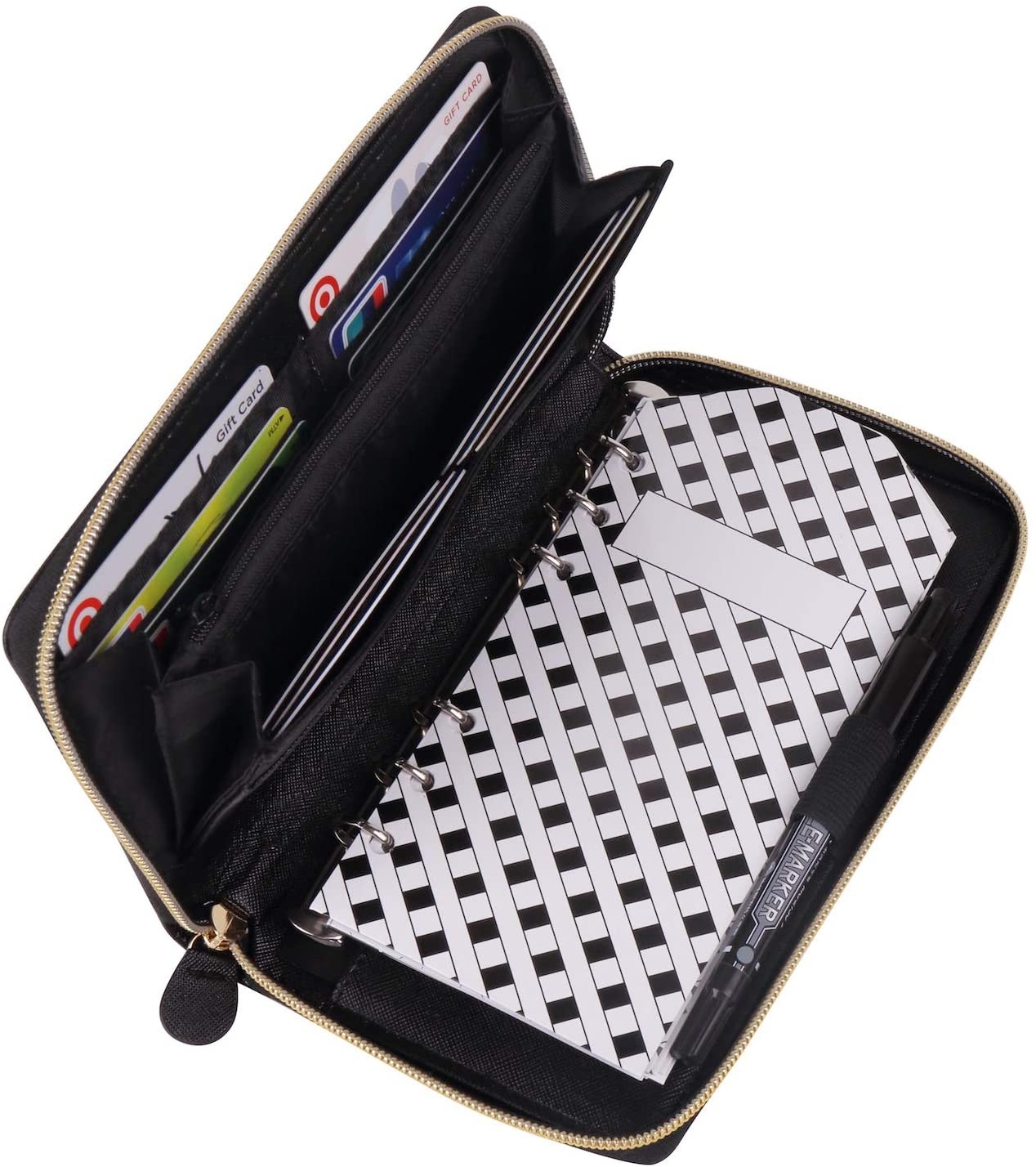Soligt All-in-One Cash Envelopes Wallet with 12 Budget Envelopes & Budget Sheets - Black