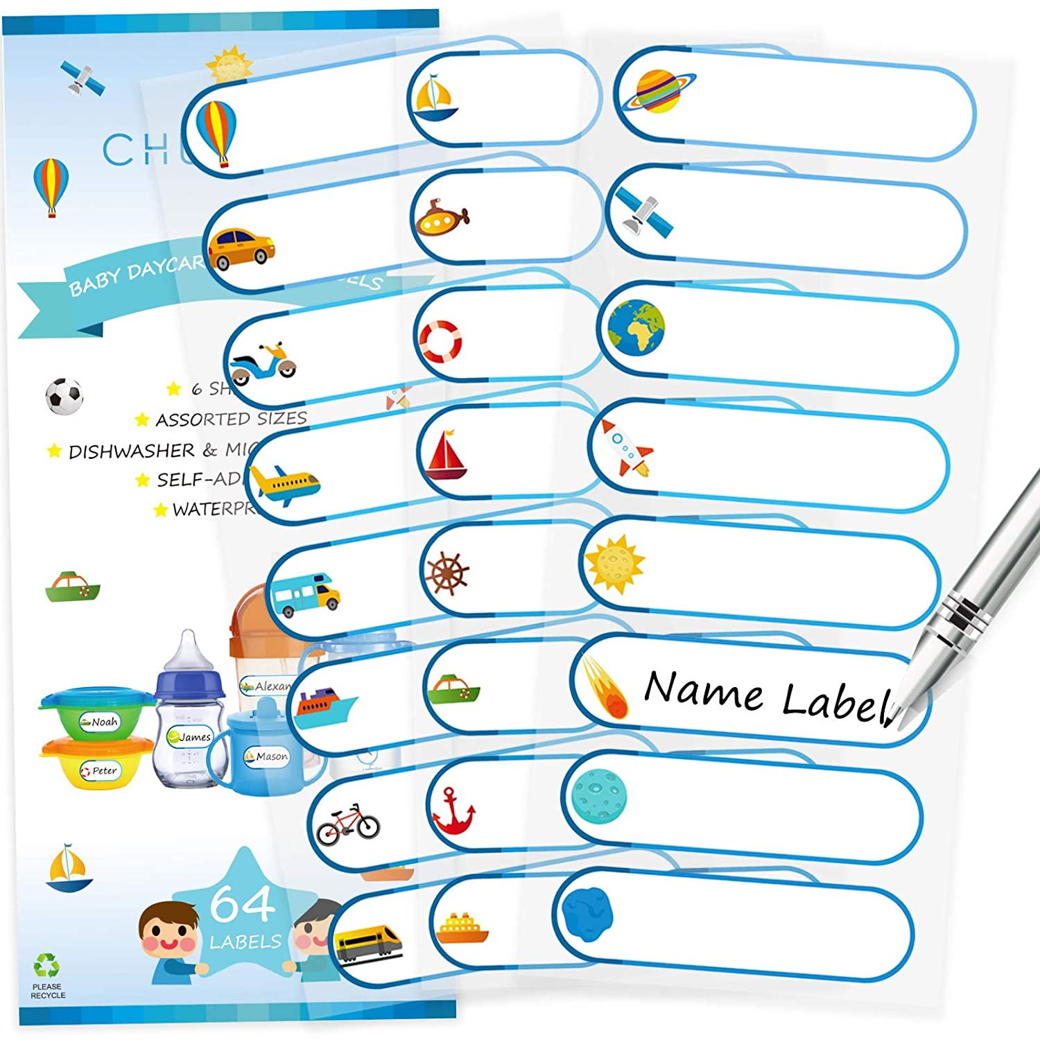 CHUBBIEE Baby Bottle Labels for Daycare, Assorted Sizes/Colors, 96 Pack
