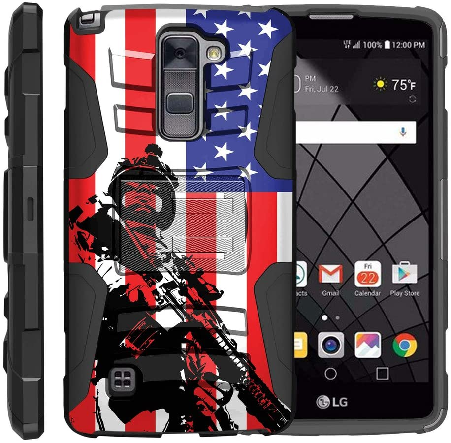 TurtleArmor | Compatible with LG Stylus 2 Plus Case | LG Stylo 2 Plus Case [Hyper Shock] Rugged Hybrid Hard Shell Kickstand Fitted Rubber Holster Belt Clip Military War Camo - American Soldier