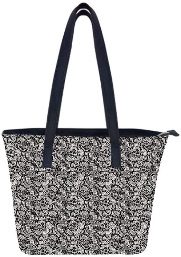 Gothic Gentle Pattern Women Leather Laptop Tote Office Shoulder Handbag Computer Briefcase