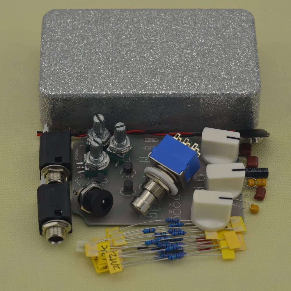 TTONE Do It Yourself Analog Tremolo Guitar Effects Pedal Stompbox Pedals Kit Flash silver Colour Enclosure Unfinished(NO HOLES)