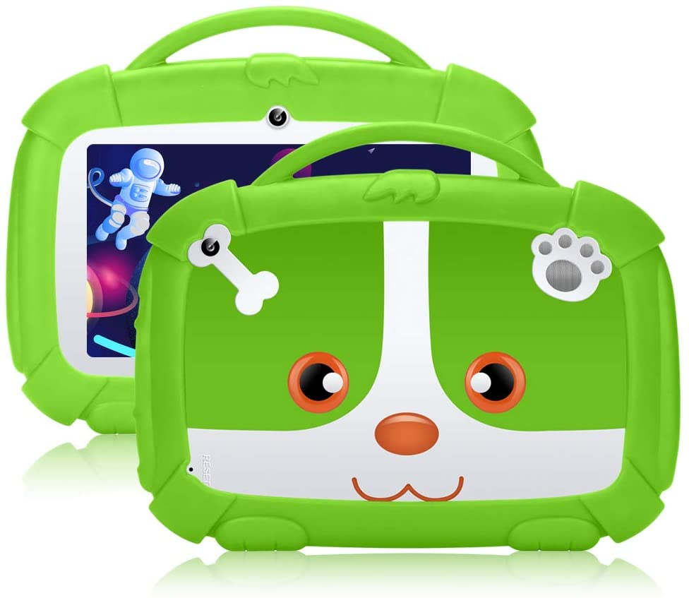 Padgene Kids Tablet 7 Inch,Android 9.0 Parental Control Kids Mode Pre-Installed WiFi Tablet Learning Games Camera IPS HD Display 1 GB+16GB with Kid-Proof Case (7 Inch, Green)