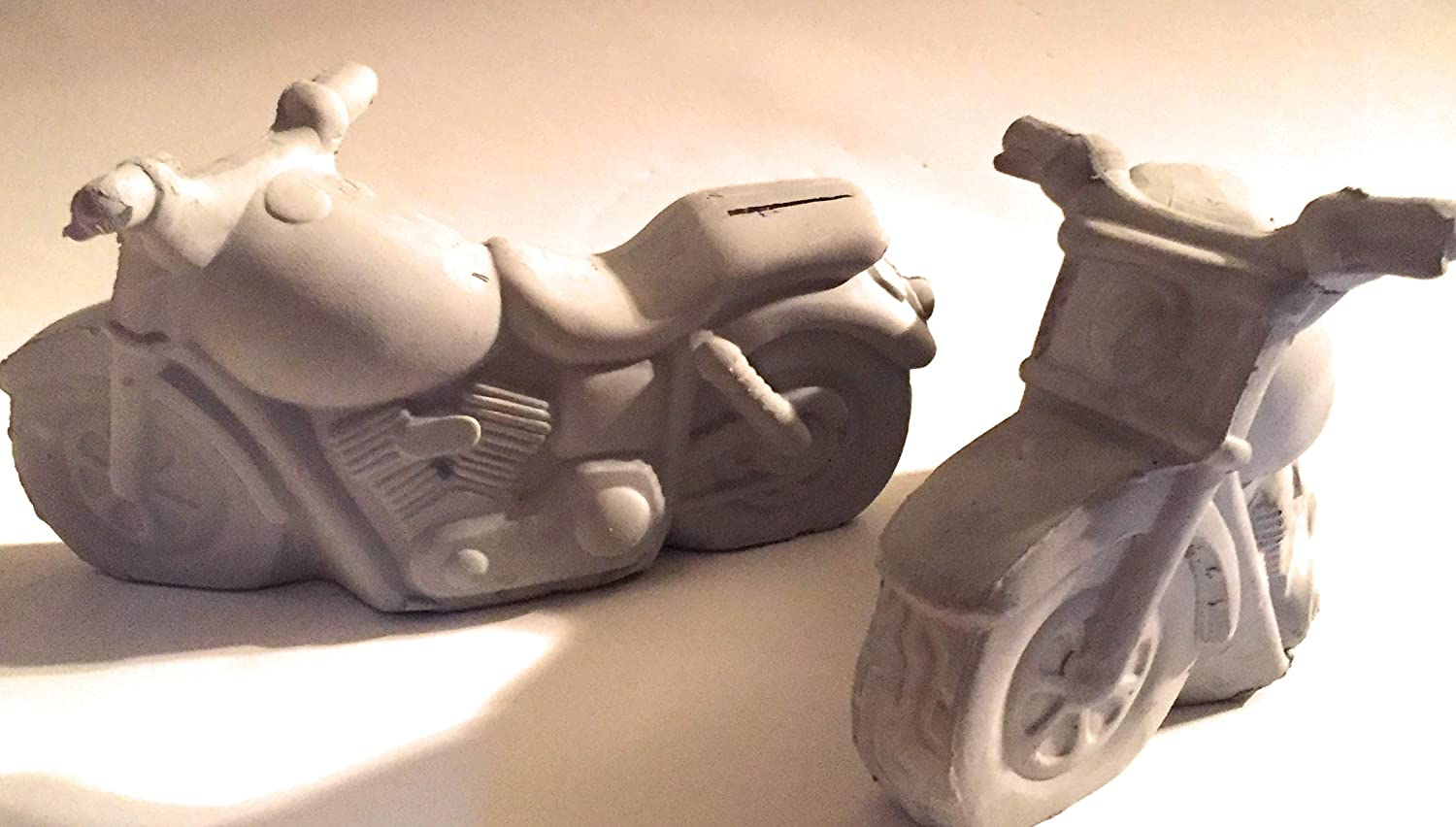 Motorcycle Bank Ready to Paint Ceramic Bisque 8 in