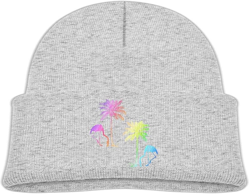 Baby Boys Girls Flamingo Palm Tree Kint Beanie Hats Toddler & Kids Winter Warm Kinted Caps(2-6T)