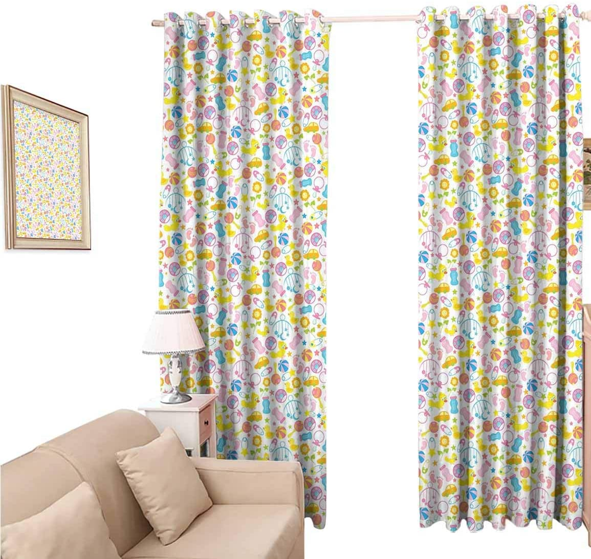 oobon Window Blackout Curtains Fabric, Baby an Assortment of Infant Items Toys Foots Milk Bottles Flower Arrangement, 108 Inches Long for Nursery Room, 96x108 inch