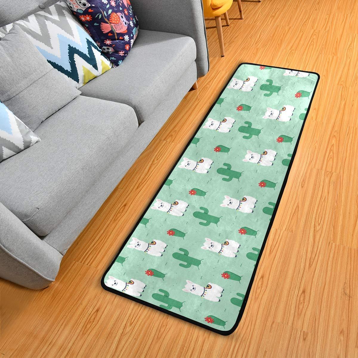 Hallway Runner Rug Rubber Backing - Llama Alpaca Runner Rug for Kitchen Rug Carpet Runner Non Skid Washable Rug Runner 2x6