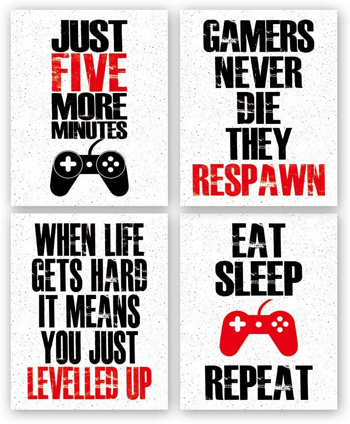 "Funny Game Art Print Inspirational Words Quote Poster Set of 4 (10 ""X8 ""Canvas Gaming Wall Art For Kids Boy Bedroom Playroom Home Decor,No Frame"