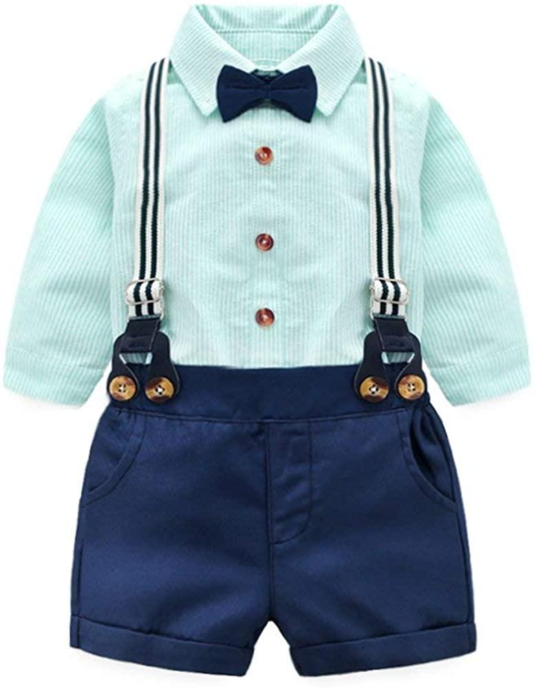 Super Kids Toddler Baby Boy Summer Gentleman Bowtie Long Sleeve Shirt+ Suspenders Short Set Outfit