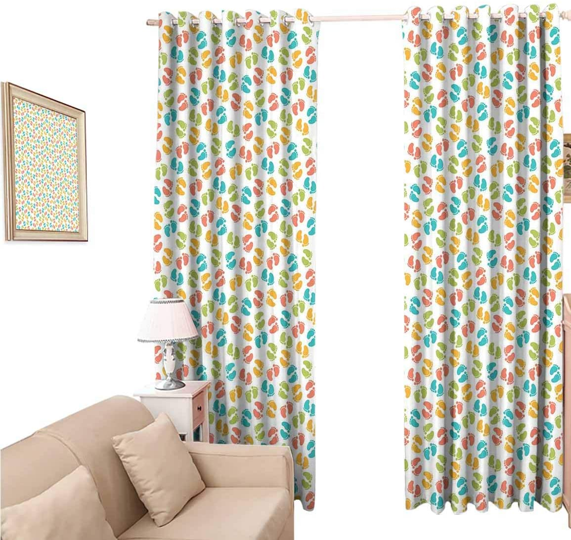 oobon Window Blackout Curtains Fabric, Baby Colorful Newborn Foots Abstract Newborn Birth Celebration, 108 Inches Long for Nursery Room, 96x108 inch