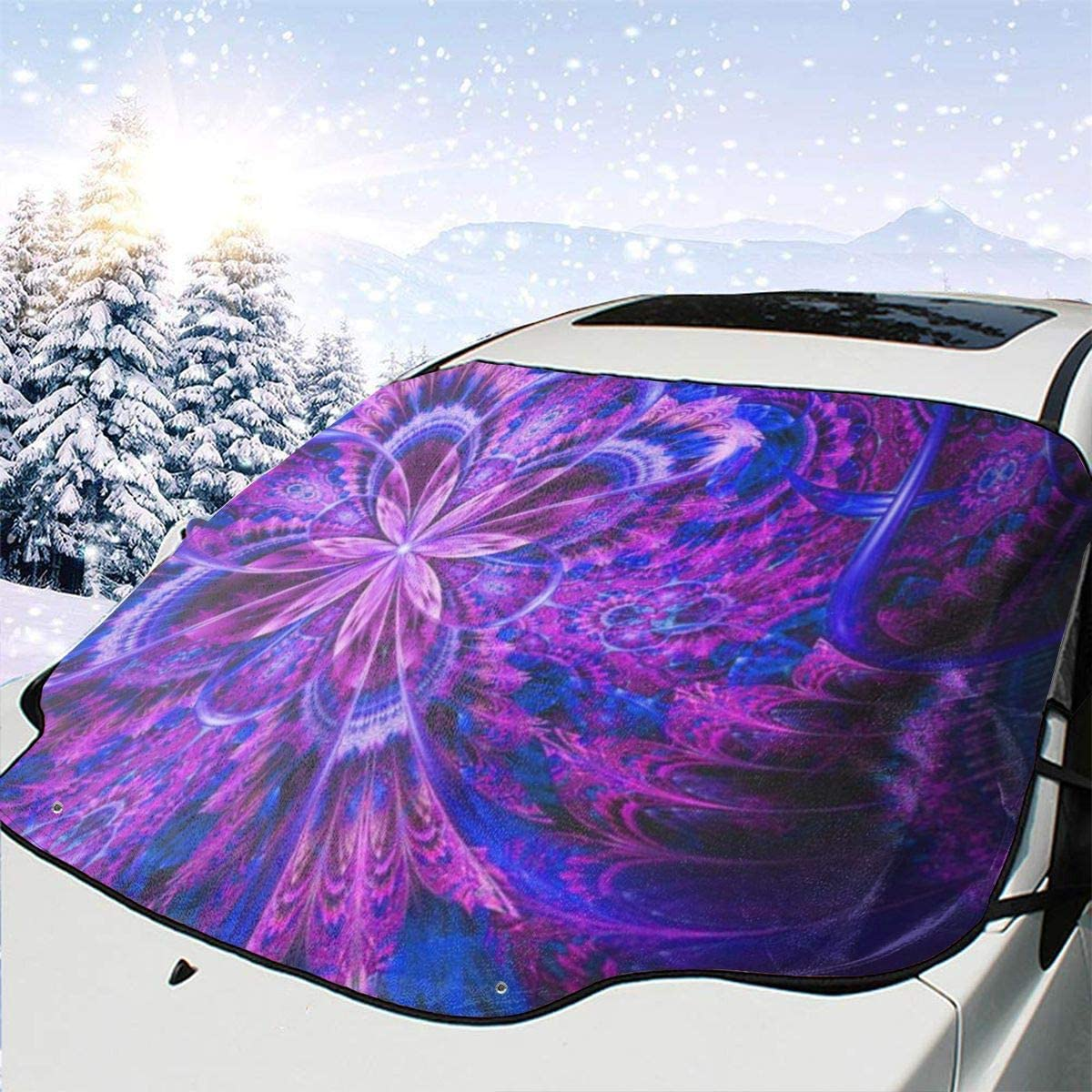THONFIRE Car Front Window Windshield Winter Sun Shades Ancient Antique Blue Bronze Cover Windproof Blocks UV Rays Keeps Your Vehicle Cool Visor Protector Minivan Spring Heatshield