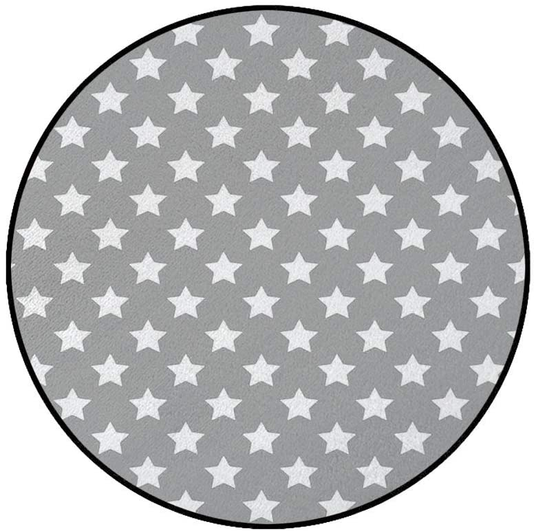 3' Round Area Rugs,Big Stars Pattern Monochrome Artful Modern Baby Nursery Design Starry Night Themed Super Soft Washable Carpet for Living Room Bedroom Home Children Playroom Nursery, Grey White