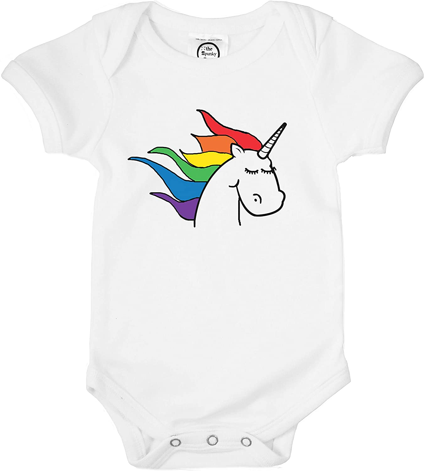The Spunky Stork Baby Girl or Boy Rainbow Unicorn Organic Pride Outfit Bodysuit