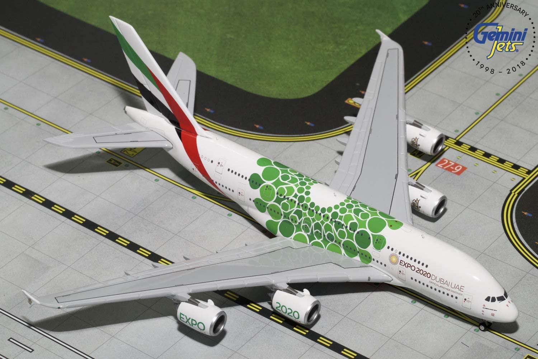 GeminiJets GJUAE1788 Emirates A380 A6-Eew Expo 2020 1: 400 Scale Diecast Model Airplane, White