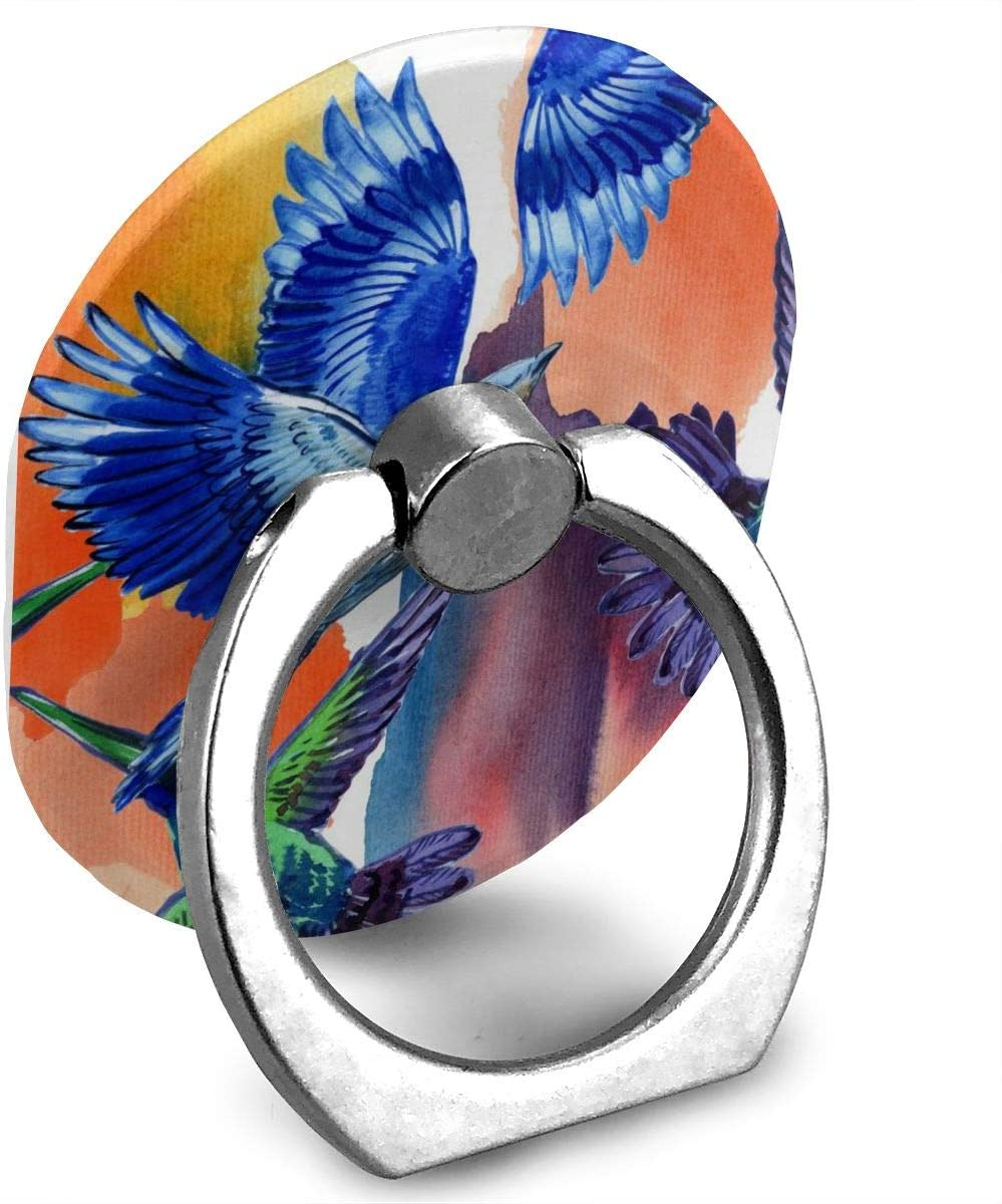 Cell Phone Ring Holder Stand Fantastic Tropical Blue Bird Adjustable 360°Rotation Cute Universal Finger Grip Loop Kickstand with Silver Metal Phone Holder for Women Kids Men Ladies Smartphones