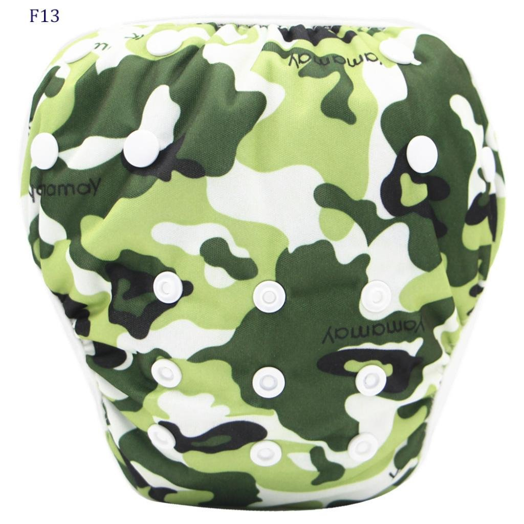 Leegor Toddler Baby Nappies Shorts,Boys Girls Cute Pattern Swimwear Swimming Trunks (0-3T, Camouflage)