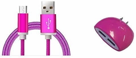 Cell-Stuff Hot Pink Braided Home Charger Including Type-C 3 FT Charging Cable and Dual USB Wall Outlet for Compatible w/LG Stylo 4 Plus and Similar USB Compatible Cell Phones