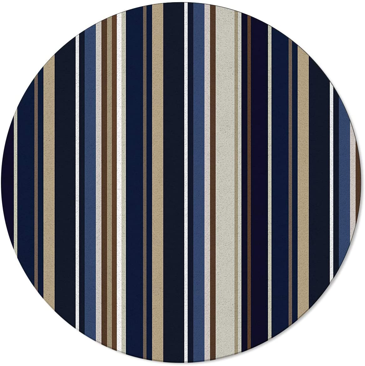 SunShine Day Modern Round Area Mats, Blue and Brown Geometric Stripe Pattern Large Rugs for Nursery Kids, Floor Mats for Any Entrance Or Exit 3 Feet