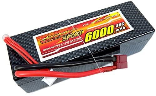 ECHOBBY 11.1V 3S 6000mAh 30C LiPo Battery T Plug Hardcase for 1/10 & 1/8 RC Racing Buggy Truck