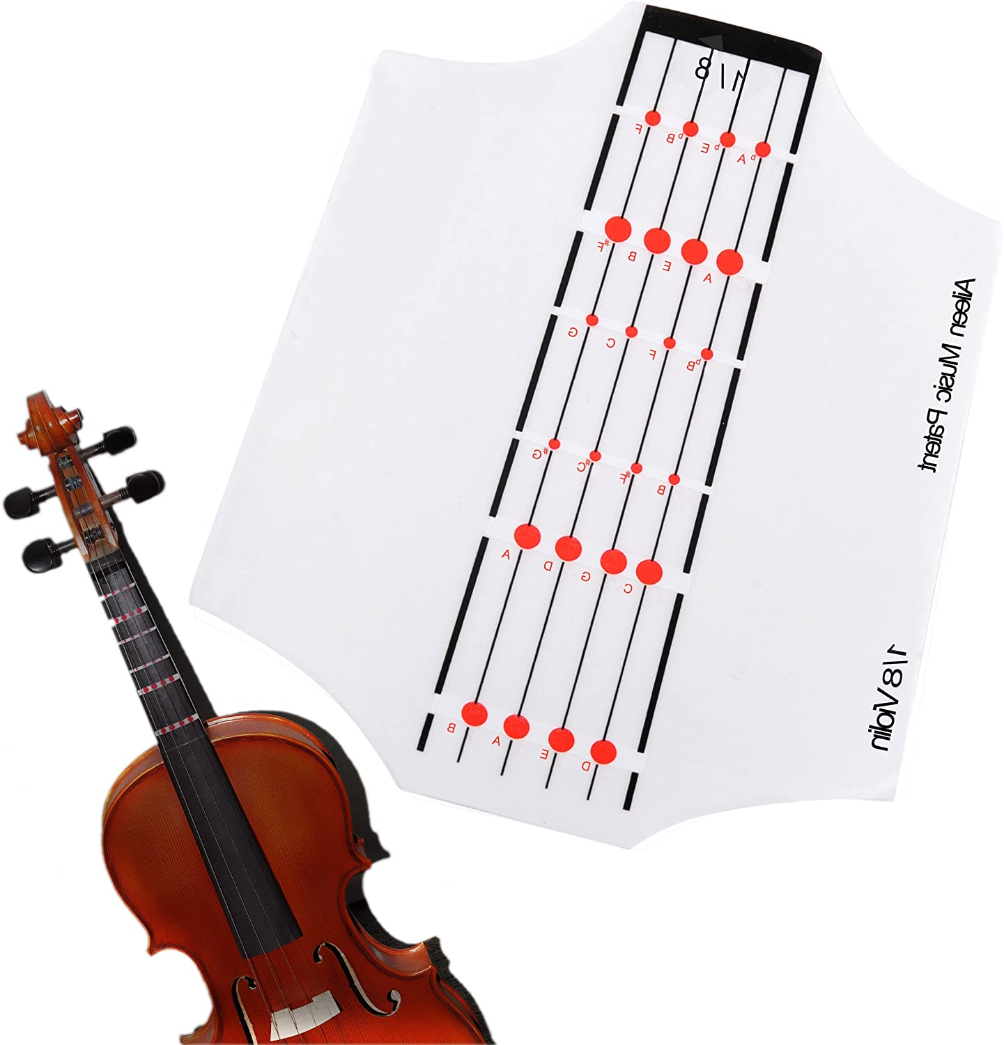FFG501-18 Made in China Aileen Violin Fingerboard Sticker Fret Guide Label Position Indicator for 4/4 3/4 1/2 1/4 1/8 Size (1/8)