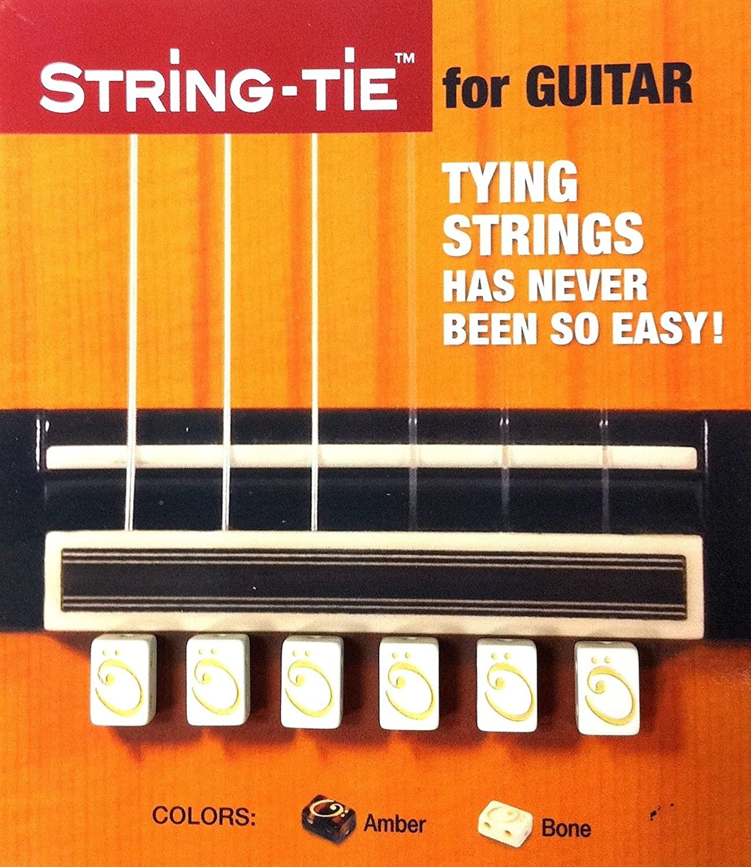 TSTGW TENOR String-Tie Tailpiece BridgeBeads Set for Classical or Flamenco Spanish Guitar, PEARL BONE WHITE Color Bridge Beads.