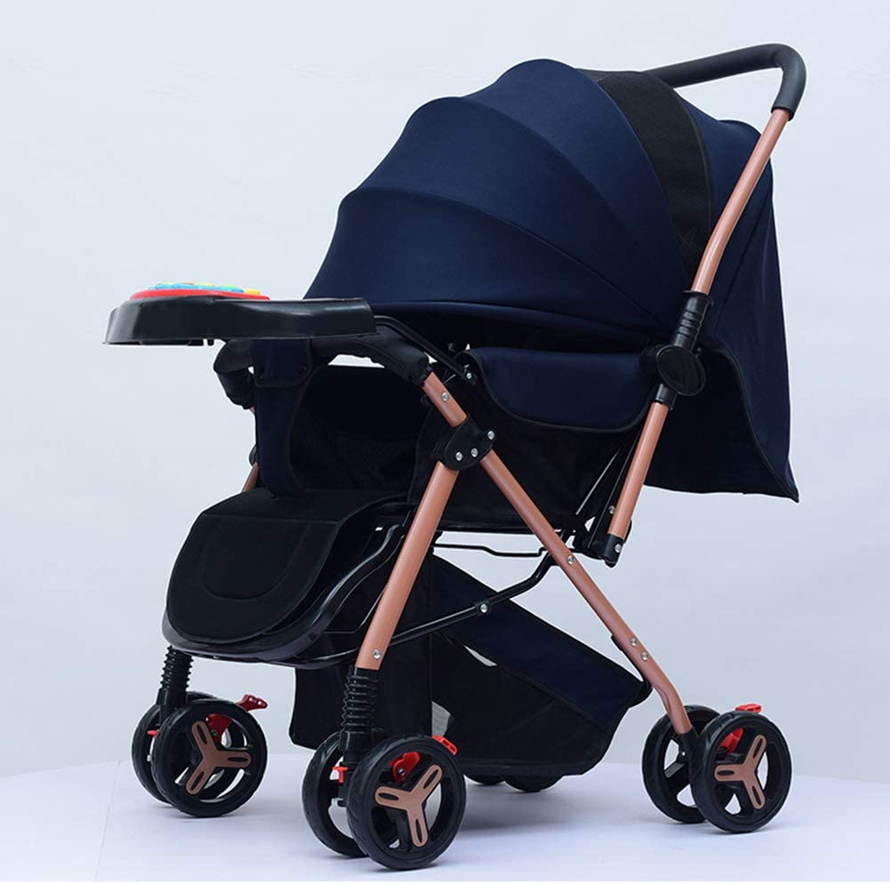 DEMO Pushichair Baby Stroller Travel System with Adjustable Seat Height Angle and Four-Wheel Shock Absorption,Reversible,High Landscape and Fashional Pram,Black