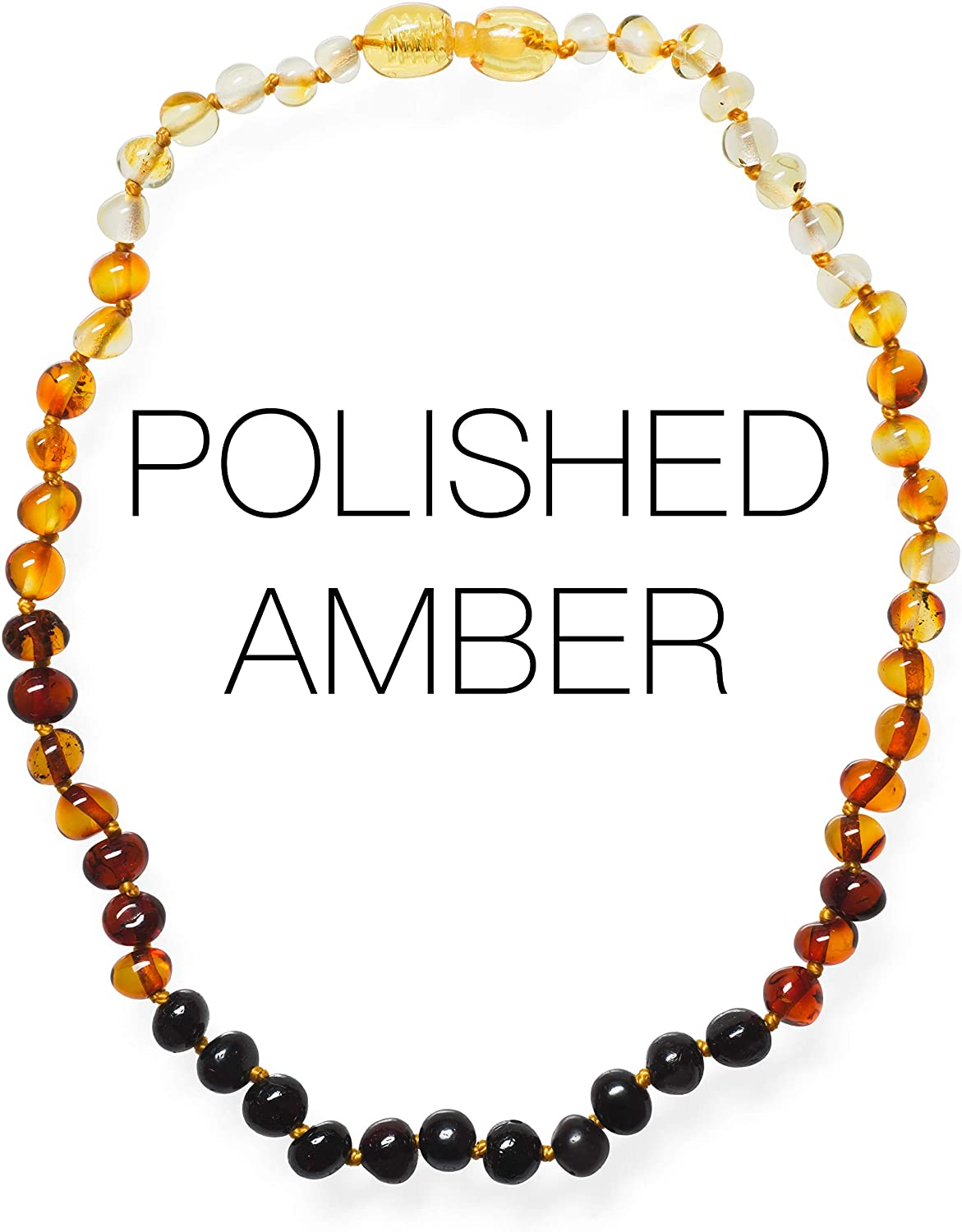 Meraki Amber Necklace - Polished Baroque Baltic Amber Necklace   Alternative Pain Relief - Certified Genuine Baltic Amber Necklace   Rainbow Color (11.5 Inches)