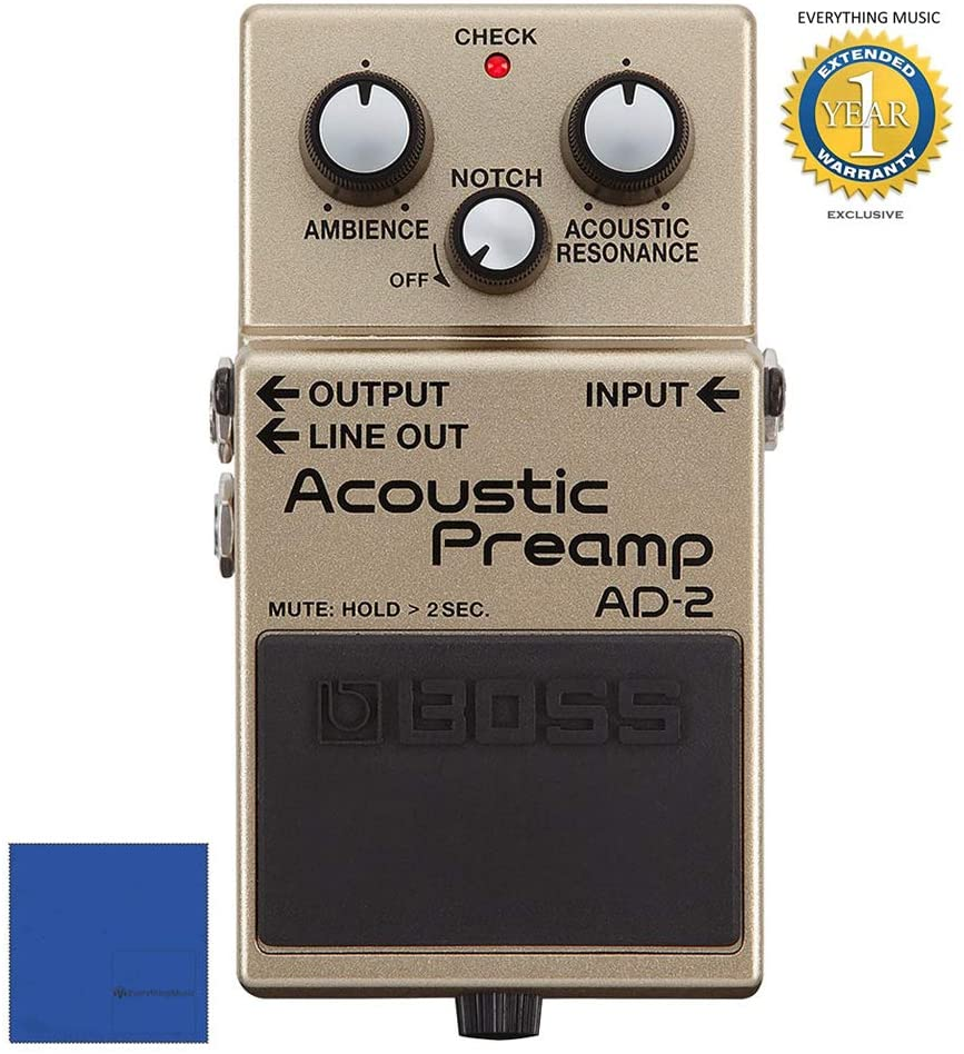 Boss AD-2 Acoustic Preamp Pedal with 1 Year EverythingMusic Extended Warranty Free