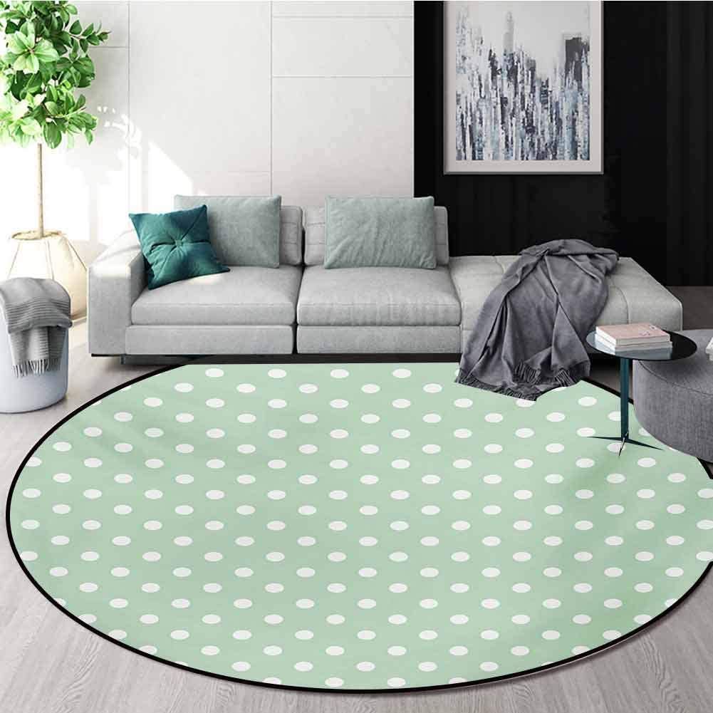 RUGSMAT Mint Modern Machine Round Bath Mat,Classical Old Fashioned Polka Dots Pattern On Pale Green Fresh Background Non-Slip No-Shedding Kitchen Soft Floor Mat,Round-39 Inch Mint Green and White
