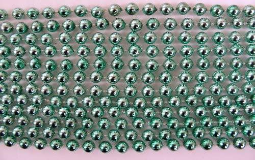33 inch 7mm Round Metallic Light Green Mardi Gras Beads - 6 Dozen (72 necklaces)