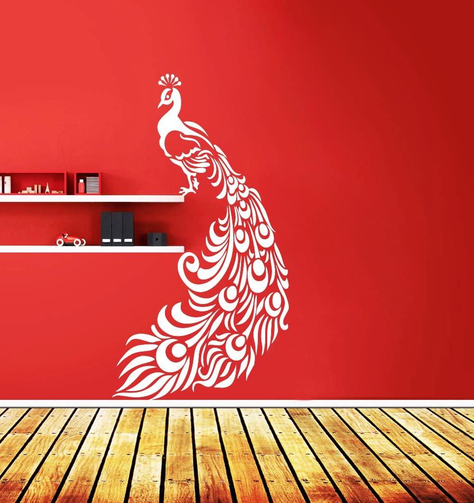 DreamKraft Peacock Wall Decor Art Stickers Vinyl Decals Home Decor for Living Room & Kids bedroom (17X34 Inch)