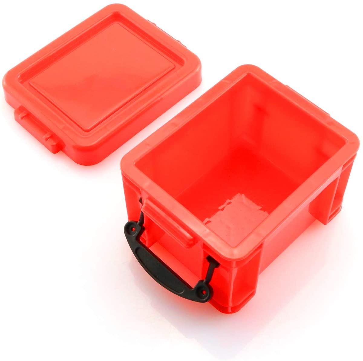 Maxmoral Mini Decoration Plastic Storage Box Accessories for 1/10 RC Rock Crawler TRX4 Axial SCX10 RC Car Truck Parts Red