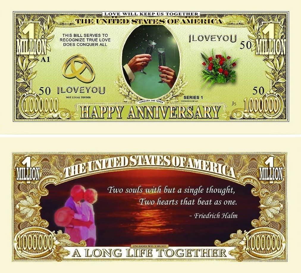 "10 Happy Anniversary Million Dollar Bills with Bonus ""Thanks a Million"" Gift Card Set"