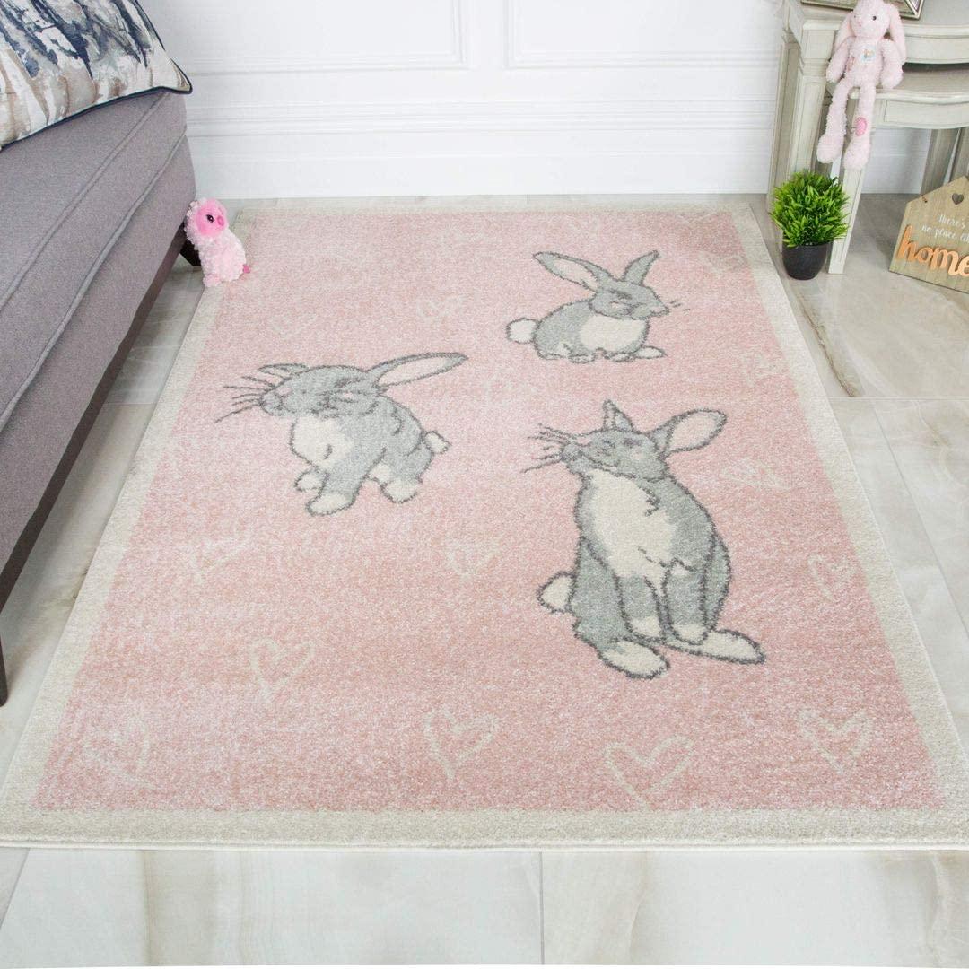 Fun Pale Baby Pink Bunny Rabbit Childrens Girls Playroom Bedroom Rug
