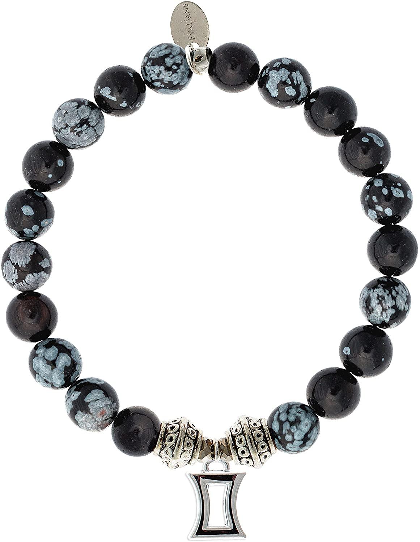 EvaDane Natural Snowflake Obsidian Gemstone Tibetan Bead Gemini Charm Stretch Bracelet