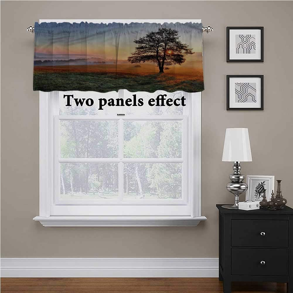 shirlyhome Landscape Window Treatments Meadow Dramatic Sunset for Kids Room/Baby Nursery/Dormitory, 60 Inch by 18 Inch 1 Panel