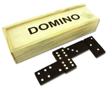 Bulk buysDomino Set in Wooden Box Game, Black/Brown/White, One Size
