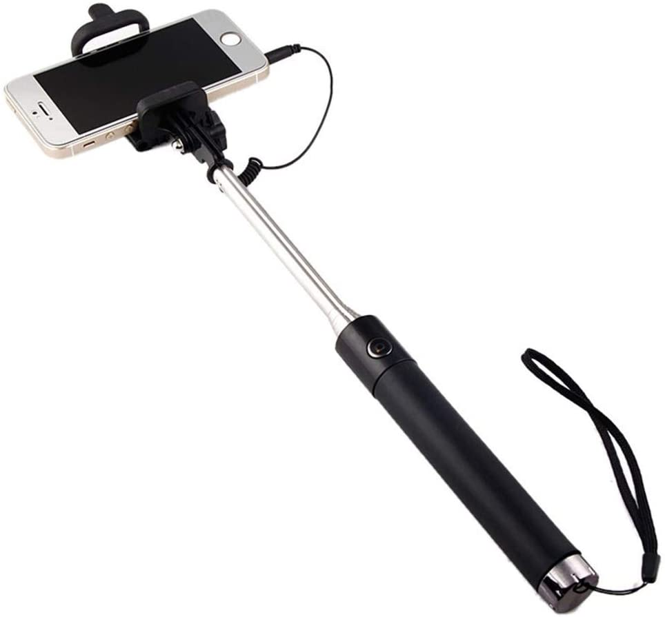 Shot Case Selfie-Stick-10703 Metal Selfie Stick for Huawei P9 Smartphone Hanger Android iOS Adjustable Button Photo Cable Jack Black