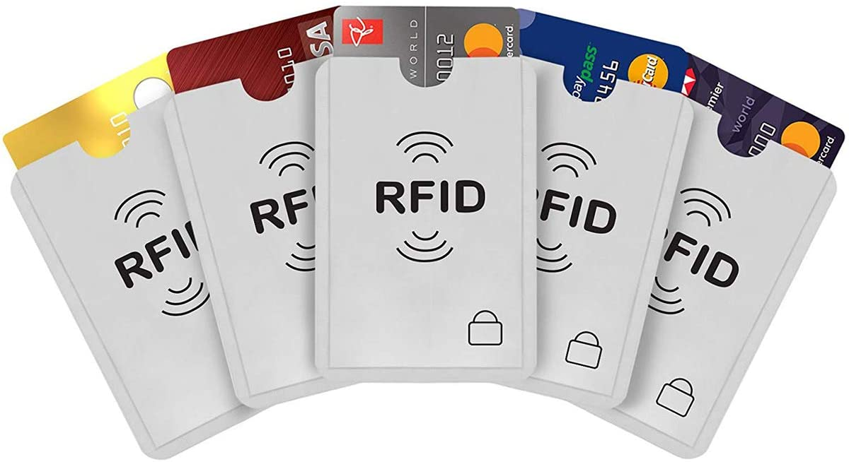 Credit Card Protector, 20Pcs RFID Blocking Sleeves for Credit Card Debit Card Passport, Silver, 9 x 6.3cm