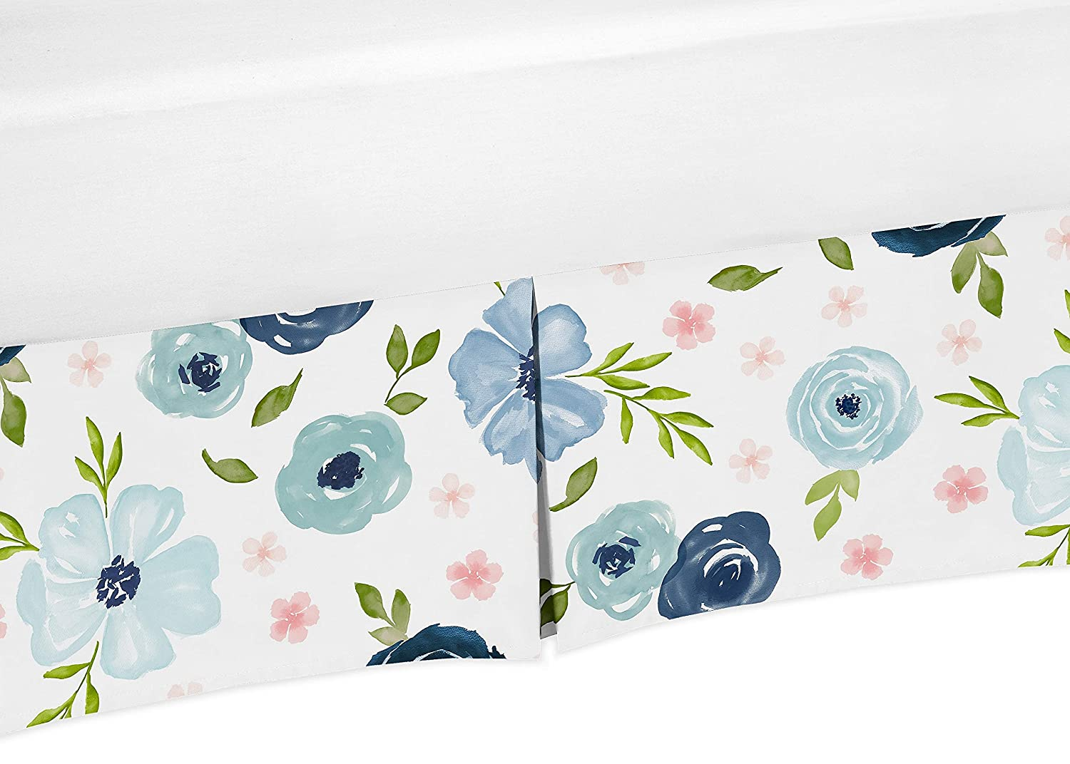 Sweet Jojo Designs Navy Blue and Pink Watercolor Floral Girl Pleated Baby Nursery Crib Bed Skirt Dust Ruffle - Blush, Green and White Shabby Chic Rose Flower
